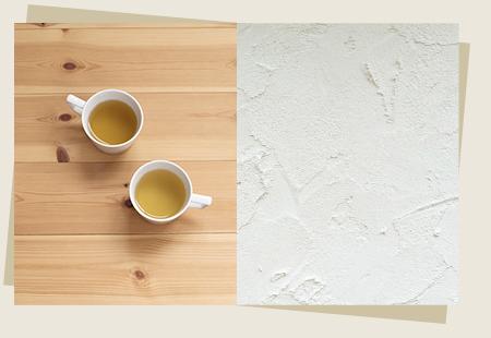 無垢材の床や珪藻土の壁など、自然素材をふんだんに用いたあたたかい印象の家。